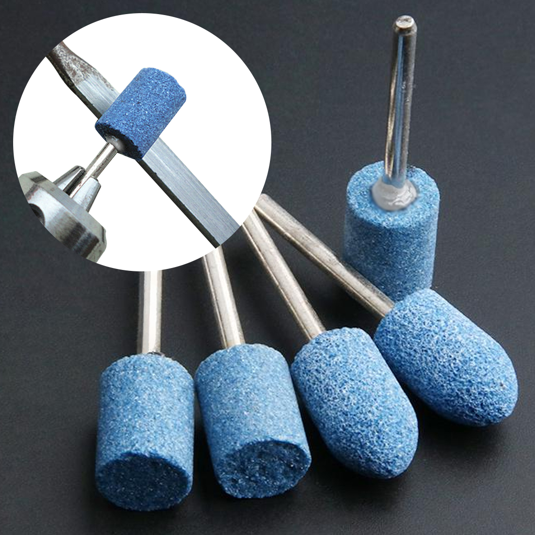 10pc Multi Tool Grinding Burr Wheel 1/8 Shank Blue Abrasive Mounted Stone Set For Dremel 4000 3000 Dremel Rotary Tools