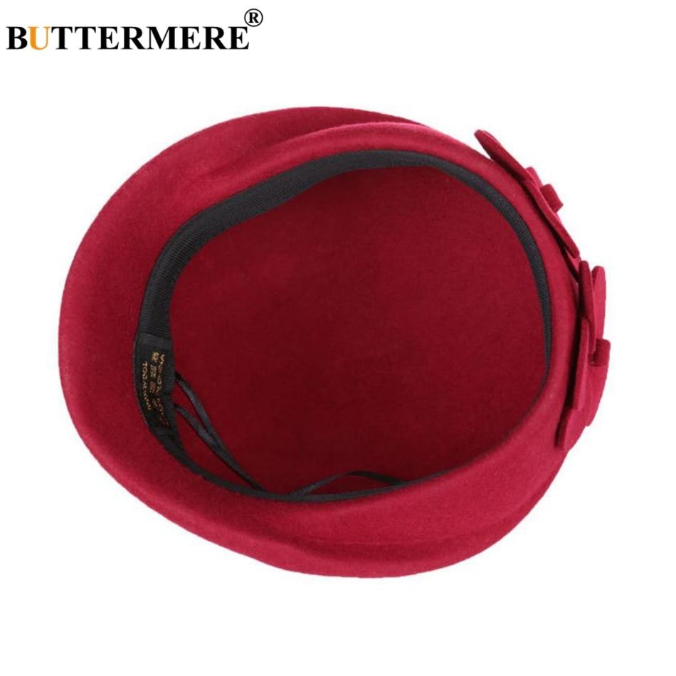 BUTTERMERE Elegant Hats For Ladies Wool Red Fedoras Flower Grace French Berets Women Cap Solid Warm Autumn Winter Felt Hat Black 6