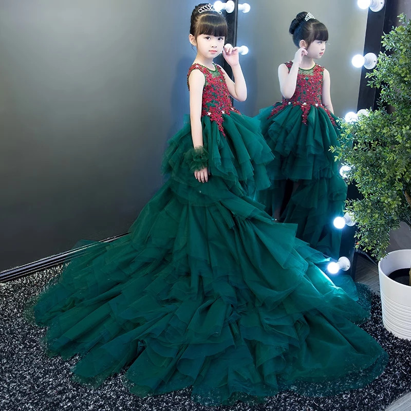 2018 New Luxury Children Girls Elegant Layers Mesh Tail Dress For Birthday Party Model Show Evening Party Princess Lace Dress new high quality children girls blue princess lace party dress wedding birthday dress with layers mesh tail kids costume dress