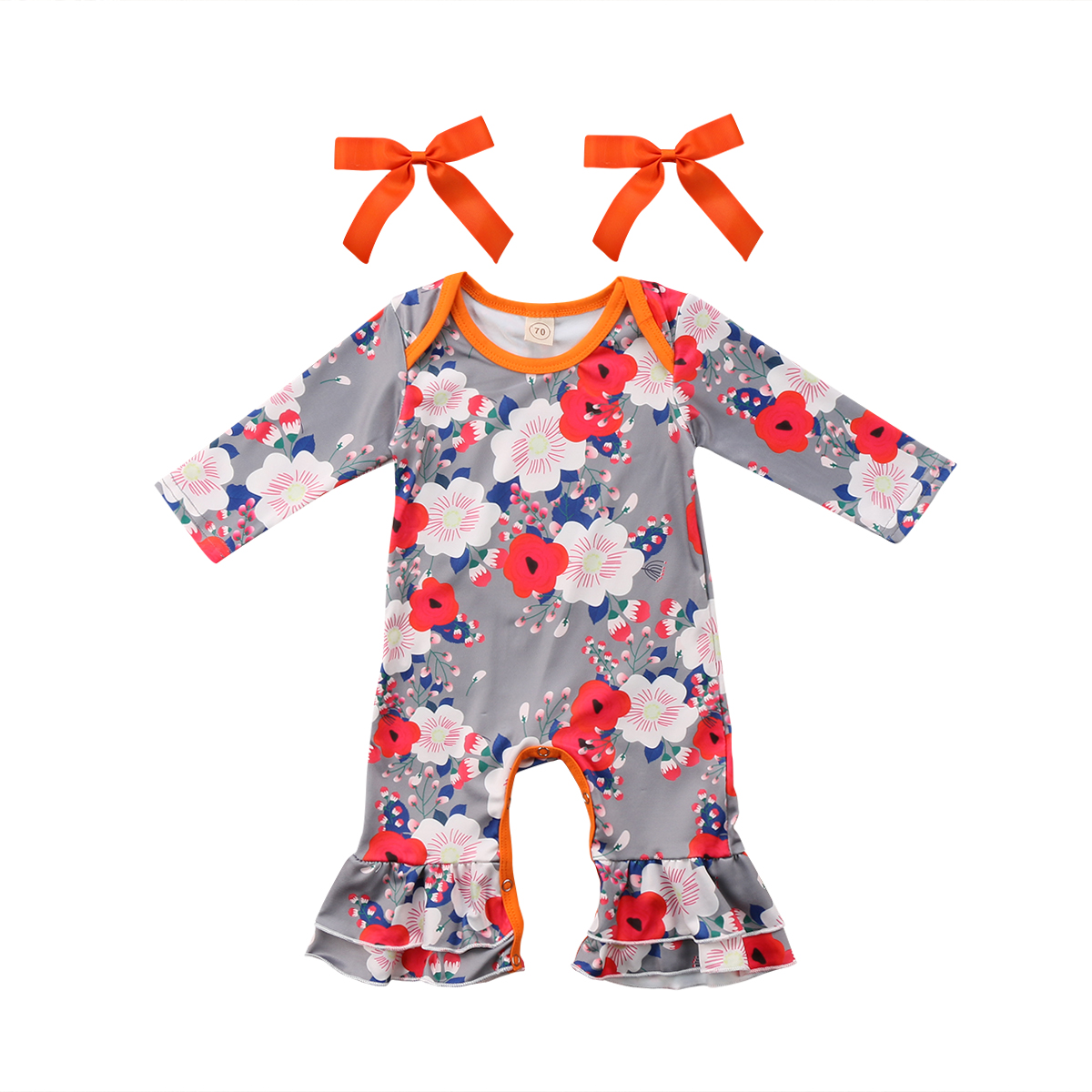 Fashion Floral Newborn Infant Baby Girl Romper O Neck Long Sleeve Flare Jumpsuit Playsuit Clothes Outfits 0-24M