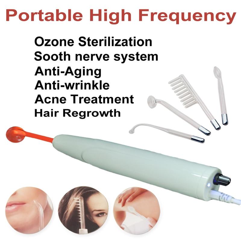 Máquina facial portátil de alta frequência-acne, anti-inflamatório, aperto da pele, rugas, linhas finas