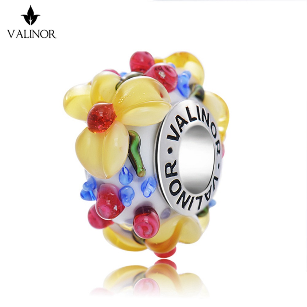 Yellow <font><b>flowers</b></font> glass beads charms 925 Sterling Silver fit Bracelets & Bangles for Women Jewelry GCLL039-3