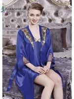 Womens Sleepwear Sets Pure 19MM Silk Robe Chemise/Short Slips 2Pcs Set Size M L XL