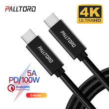 лучшая цена Palltoro USB 3.1 Type C To USB C Cable For MacBook Pro 5A 100W PD Quick Charge 3.0 For Samsung S10 Xiaomi Redmi K20 USBC Charger