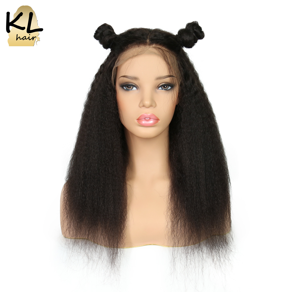Full Lace Human Hair Wigs For Black Women Kinky Straight Natural Color Brazilian Remy Hair Lace