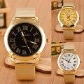 2016 New Arrival Geneva Men Women Watch Roman Numerals Quartz Gold Stainless Steel Wrist Watch Reloj Hombre