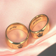 Fashion DIY Couple Jewelry Her King and His Queen Stainless Steel Lovers Wedding Rings for Couple(China)