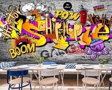 beibehang Custom fashion decorative 3d wallpaper European and American street graffiti bar ktv background wall papers home decor
