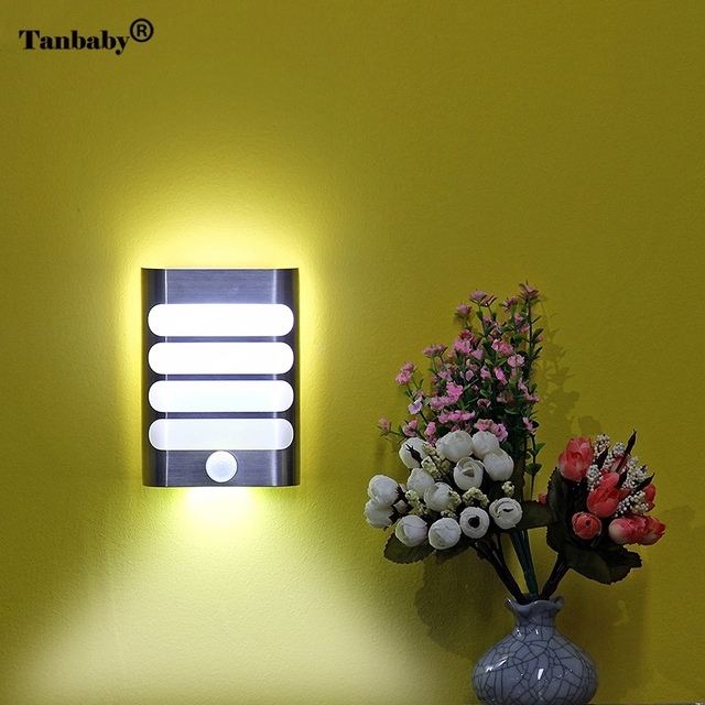 Tanbaby Rechargeable Motion Sensor LED Night Light Wireless Wall Sconce  Lamp Auto On/Off Led