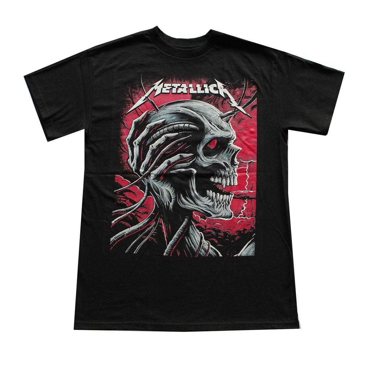 METTALICA Men's T-shirt Black SKULL  New Men'S Fashion Short-Sleeve T Shirt Mens  Short Sleeve Tops Top Tee