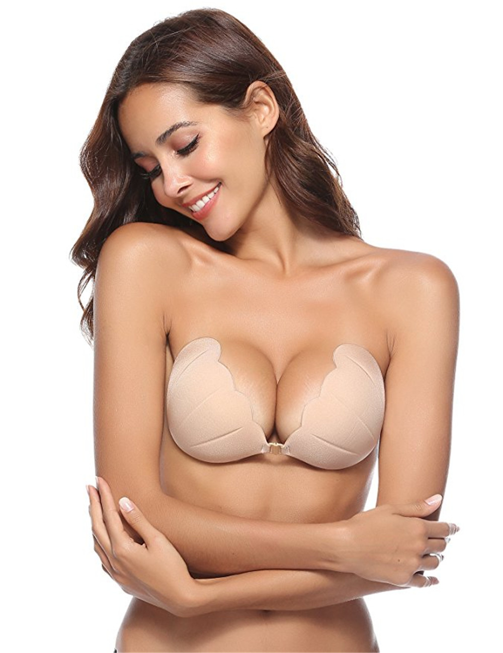 CAREOR Women Strapless Bra Sticky Adhesive Invisible Push up Bra for Backless or Strapless Dress