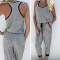 FANALA 2016 Fashion Women Sleeveless Calf-length Jumpsuit Summer Drawstring Waist Casual Leisure Loose Playsuit With Pockets 63