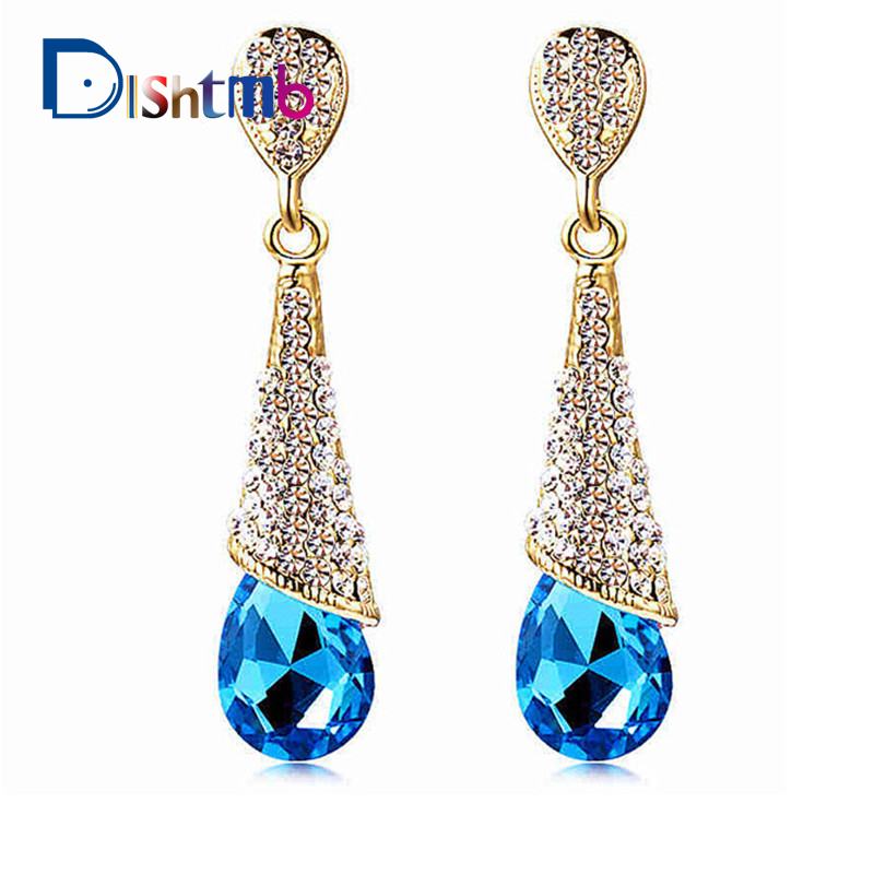 DLSHTMB Austrian Long Blue Crystal Earrings Colorful Fancy Water Drop Earrings Elegant Earrings Jewelry for Women E75