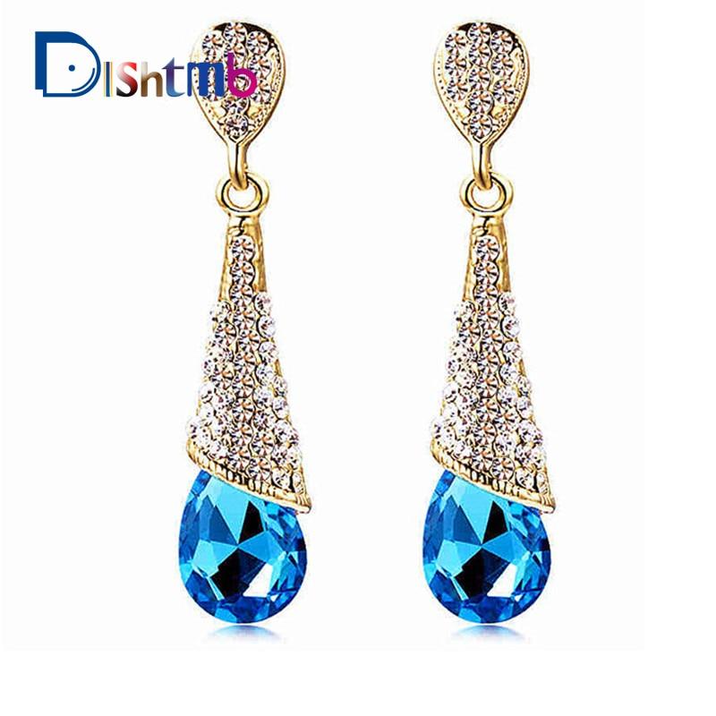 DLSHTMB Austrian Long Blue Crystal Earrings Colorful Fancy Water Drop Earrings Elegant Earrings Jewelry for Women E75