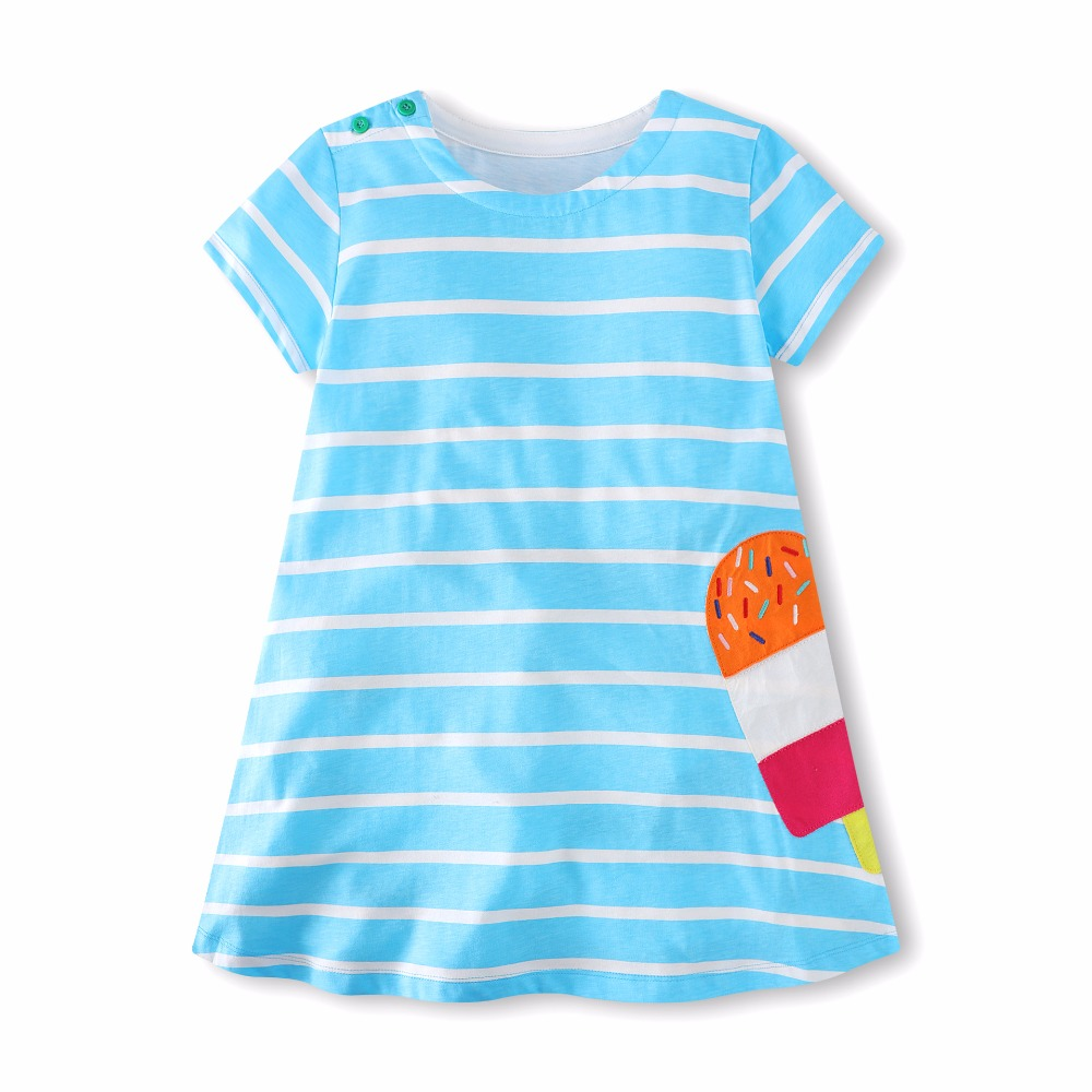 Applique a cute ice cream top quality baby girls summer cartoon dresses kids new designed striped dress girls new style clothing hot selling baby girls cartoon dresses with printed some dinosaurs kids new designed autumn clothing top quality girls dresses