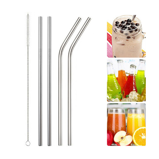 IVYSHION 1/2/4pcs Stainless Steel Straw Metal Straw With Cleaner Brush Barware Gadgets Reusable Drinking Straw For Home Party
