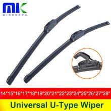 "Universal U-Type Car Wiper Blade 14"" 16"" 18"" 19"" 20"" 21"" 22"" 24"" 26"" 28"" U Hook Silicone Rubber Windshield Auto Wipers"