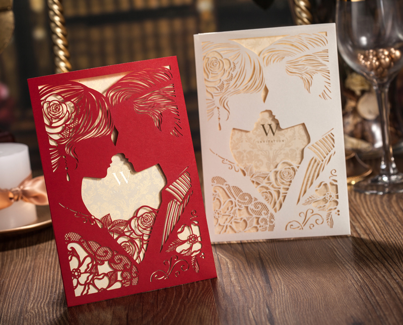 Wonderful 50pcs/set Free Envelop And Free Seal Brideu0026Groom Style Art Paper Side Fold Wedding  Invitation