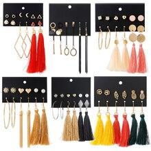 HOMOD 2019 New Design Tassel Drop Earrings Set For Women Girl Bohemian Gold Heart Long Earring Female Fashion Wedding Jewelry