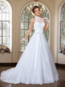 Image 3 - Elegant A Line High Neck Wedding Dress 2016 Detachable Skirt Wedding Dresses Sweep Train Bridal Gowns