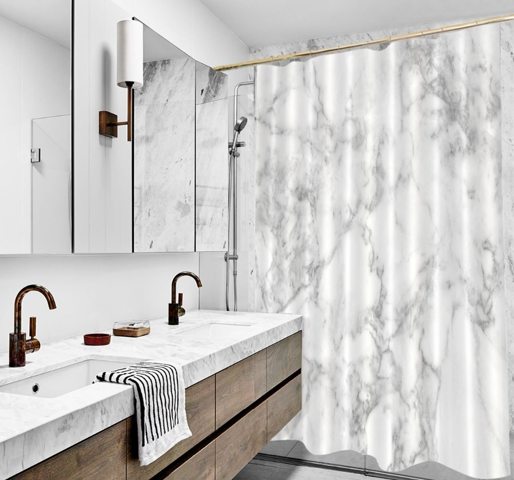 Nordic Marble Texture Shower Curtain Abstract Cracked Stripes with Rug Bathroom Waterproof Polyester Fabric for Bathtub Decor