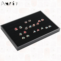 New Fashion Black Ring Tray Display Case Show Ring Earring Jewelry Decoration Storage Box Organizer Holder
