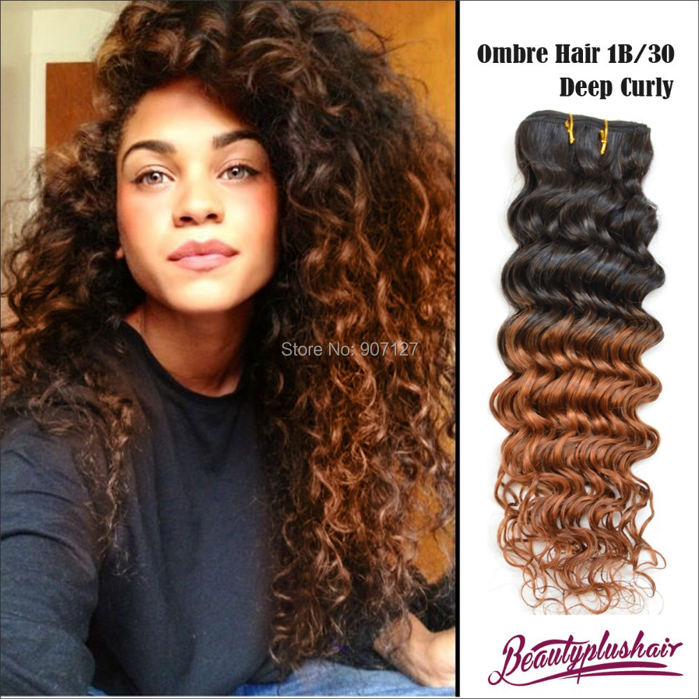 Sample 1pc 6a Ombre Brazilian Curly Hair Weave Cheap