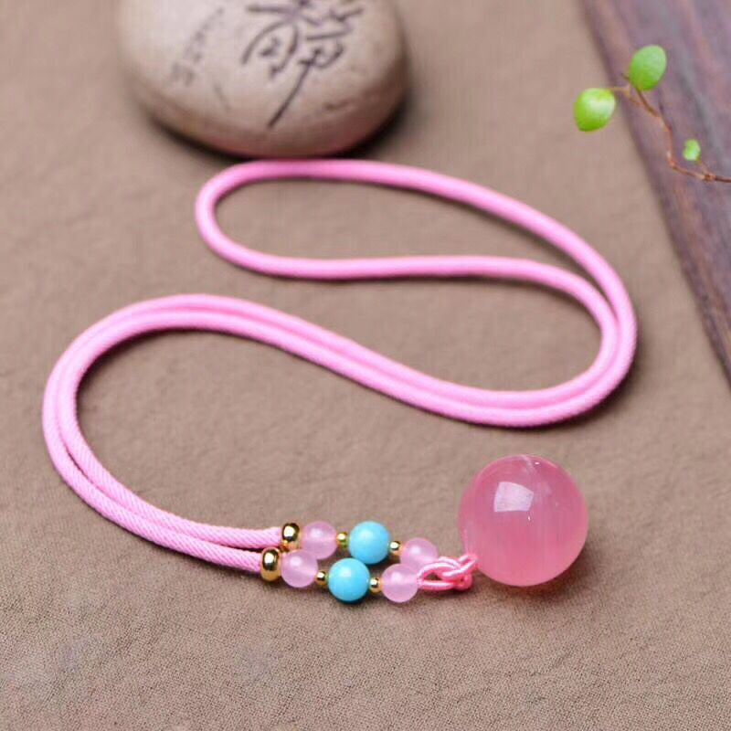 Wholesale Pink Natural Crystal Pendants Carved Ball With Rope chain Necklace Lucky for Women Girl Gift Fashion Simple Jewelry