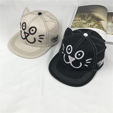 New Pattern Cat Modeling Small Kitty Ears Embroidery Women Lovely Summer Flat Top Cap Baseball Hats Cute Girl Hat(China)