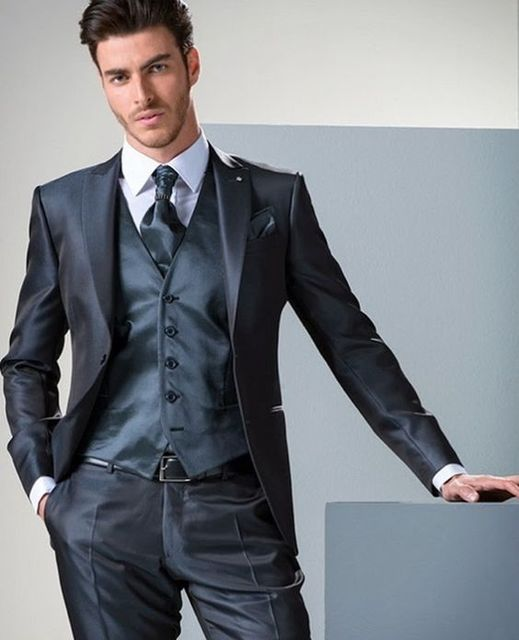 Navy Blue Satin Groom Tuxedos Italian Style 3 Piece Mens Wedding ...