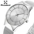 Super slim Quartz Men Casual Wristwatches Business Waterproof Readeel Brand Steel Analog Quartz Watch Men's 2016 relojes hombre