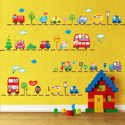 2017 New Lovely Animals on Cars Trucks Bus Wall Sticker Kids Nursery Decor Mural Decals cute line up cars tree wall stickers