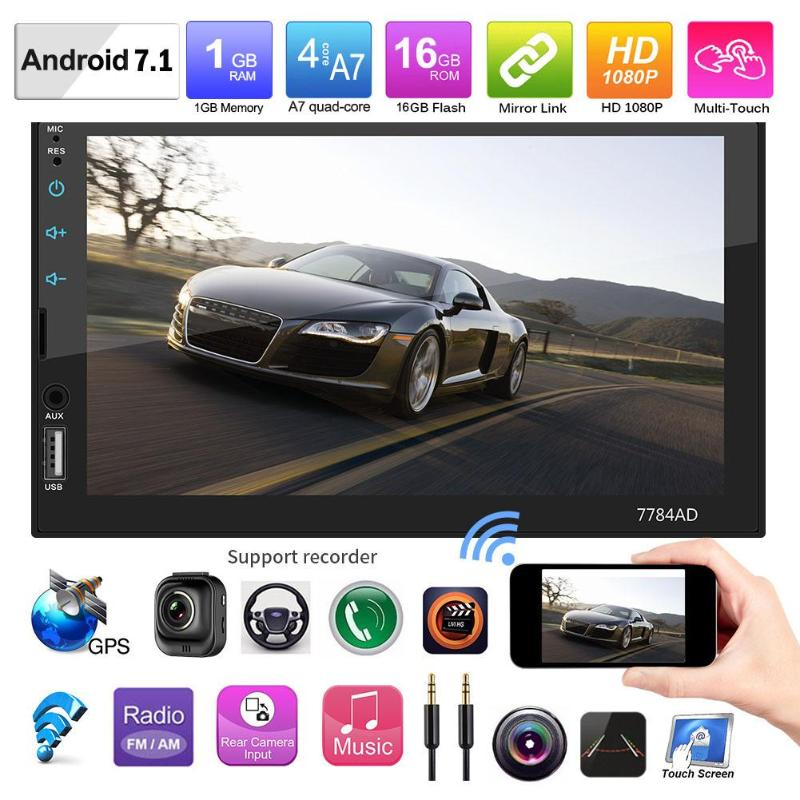 7in 2 Din Touch Screen Bluetooth 4.0 Android 7.1 Car Stereo MP5 Player Audio Video Player GPS Navigator FM AM Radio with Map