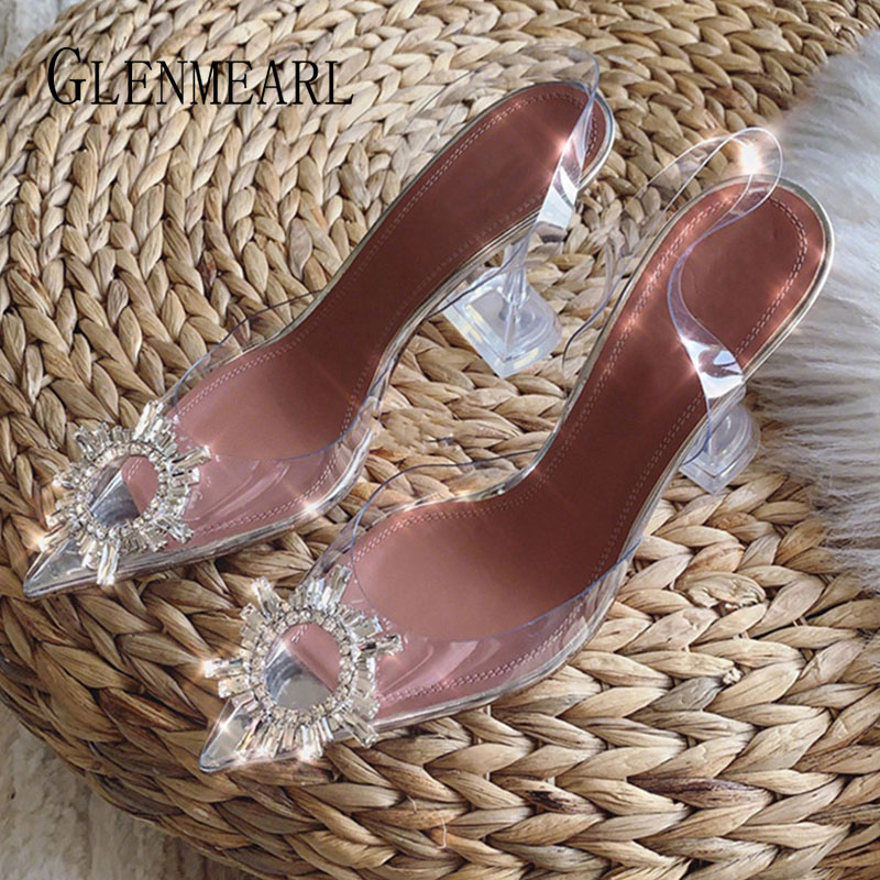 Women Pumps Transparent High Heels Sexy Wedding Shoes Brand Rhinestone Party Shoes Slingback Pointed Toe Female