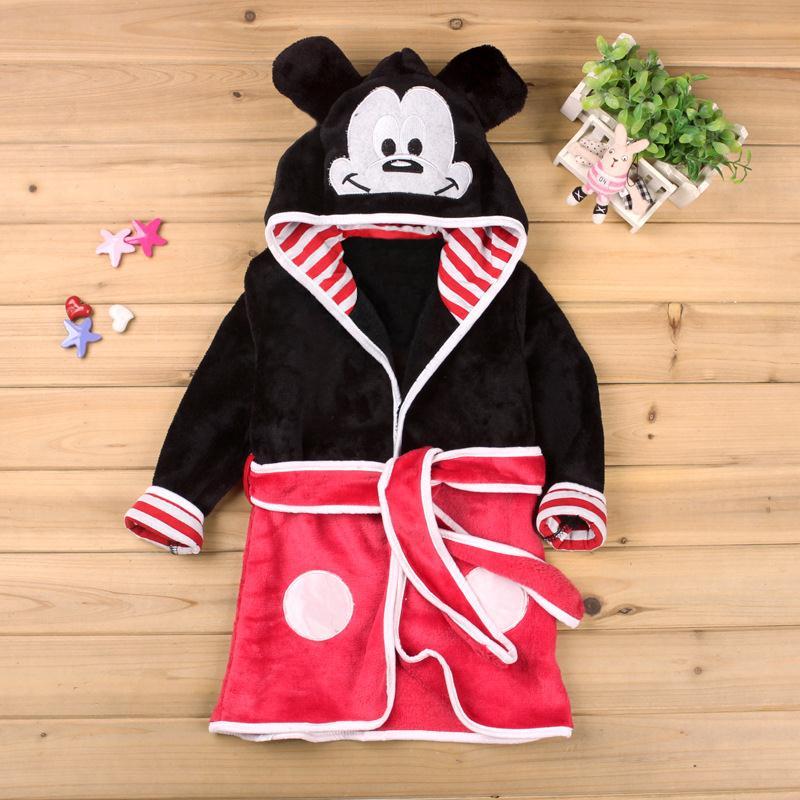 Children's Bathrobe Nemo Minnie Mickey Ariel Soft Velvet Robe Baby Girls Pajamas Coral Kids Warm Toddler Robes Infant Clothes