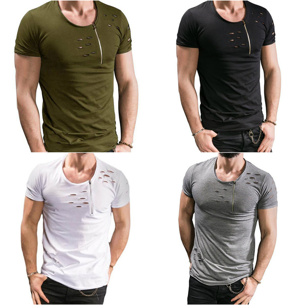 abb7d0273 2018 New Summer T Shirt Men Plus Size 3XL Ripped Hole T-shirts Men Zipper  Breathable Casual Tees Men  s T Shirt