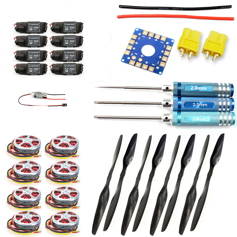 F05423-G 8-Axis Foldable Rack RC Helicopter Kit KK Connection Board+350KV Brushless Disk Motor+15x5.5 3K Propeller+40A ESC f02015 f 6 axis foldable rack rc quadcopter kit with kk v2 3 circuit board 1000kv brushless motor 10x4 7 propeller 30a esc