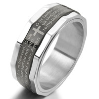 Men S Fashion Stainless Steel Ring Band Silver Black Bible Lords Prayer Cross Vintage