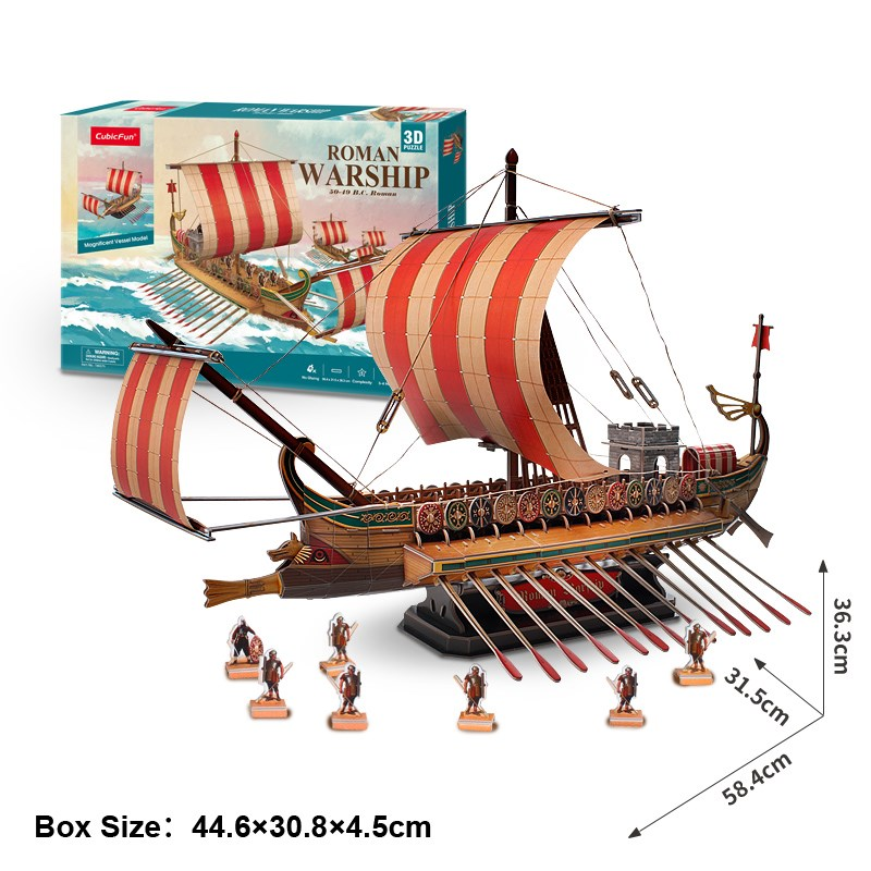 Candice guo CubicFun 3D paper puzzle model building game roman warship Phoenicia ship boat toy baby birthday gift present 1pc