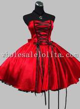 Freeshipping Cheap  Gothic Red and Black Lace Up Victorian Inspired Dress Knee Length