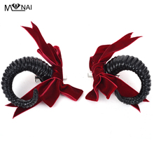 Lolita Sheep Horns Headpiece Steampunk Bow Tie Cosplay Kostym Accessoarer Huvudbonader Koreanska mode Hair Clip Handgjorda