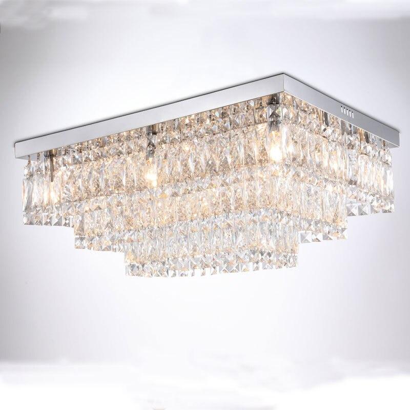 Modern Crystal Chandelier Lighting Lamp, Rectangular Shaped Chandeliers