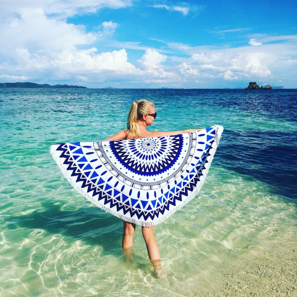 Beach Towel Womens: 150cm Throw Microfiber Summer Bath Towel Round Sand Beach
