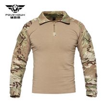 Tactical T Shirts Men Military Army rip-stop SWAT Combat Shirts Python Camouflage Male T-Shirts Long Sleeve Air soft Hunt Shirt
