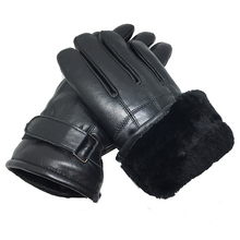 2018 leather gloves Genuine Leather Black Color men winter warm brand mittens