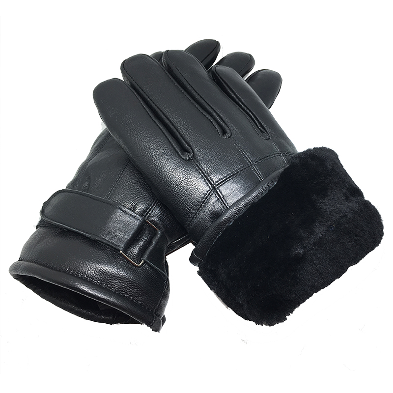 Men's Gloves Real Leather Gloves 2019 New Genuine Leather Black Color Gloves Men Thick Cotton Winter Gloves Warm Brand Mittens