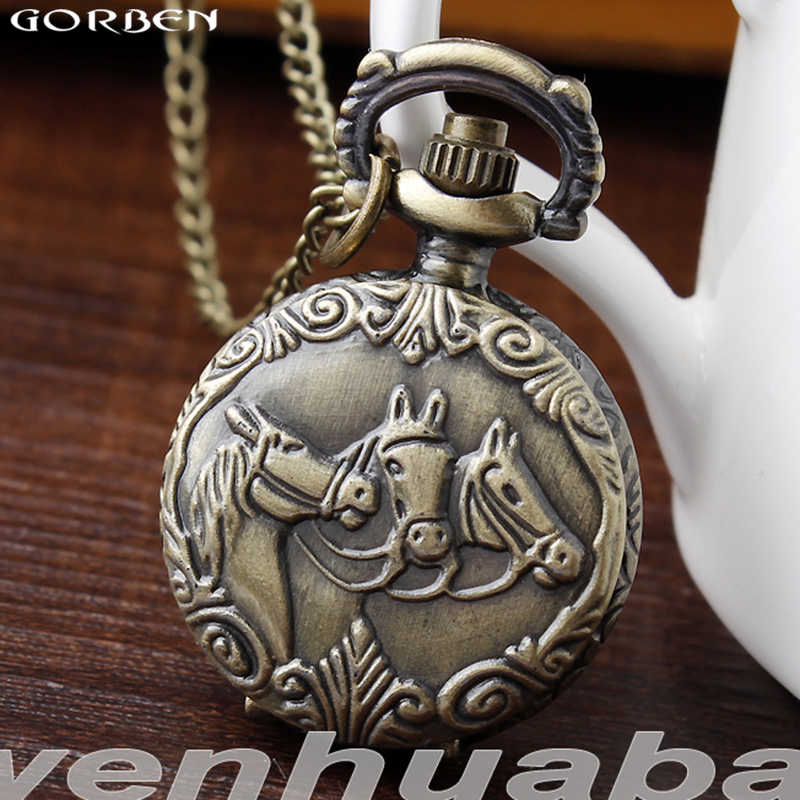 Anitque Bronze Carved Three Horse Quartz Pocket Watch With Chain Chinese Zadic Fob Pendant Clock Women Men Steampunk Gifts