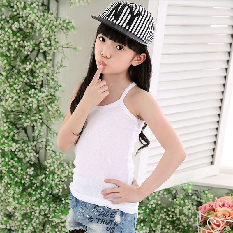 Kids Solid Candy Color 100% Cotton Tanks Camisoles Girl Summer Tank Tops Underwear Clothes Sleeveless Vest For Children Girls