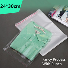 Фотография 100pcs 24*30cm Clear Self Adhesive Resealable Opp Poly Cello Cellophane Clothing Bags Transparent Packing Plastic Gift Bag