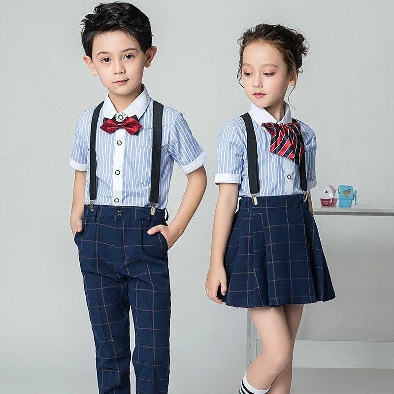 Boys Blue Long Pants Blue Shirt Girl Summer Skirt Shirts Set with Bowtie Formal Boy Birthday Dress School Uniform Children Suit jacques lemans jl 1 1649e